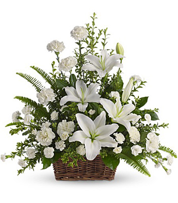 Peaceful White Lilies Basket from Richardson's Flowers in Medford, NJ