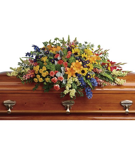 Colorful Reflections Casket Spray from Richardson's Flowers in Medford, NJ