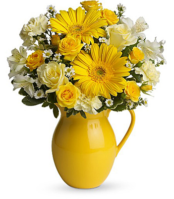 Teleflora's Sunny Day Pitcher of Cheer from Richardson's Flowers in Medford, NJ